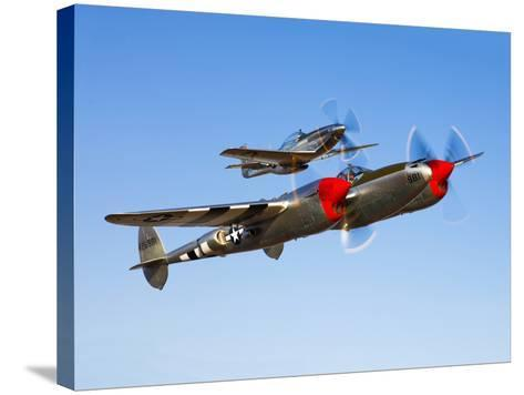 A P-38 Lightning and P-51D Mustang in Flight-Stocktrek Images-Stretched Canvas Print