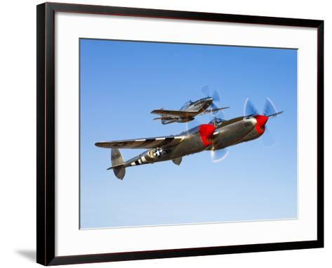 A P-38 Lightning and P-51D Mustang in Flight-Stocktrek Images-Framed Art Print