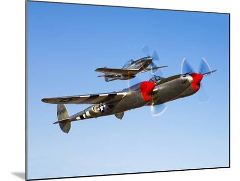 A P-38 Lightning and P-51D Mustang in Flight-Stocktrek Images-Mounted Photographic Print