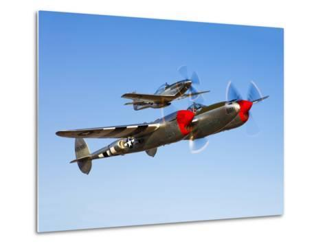A P-38 Lightning and P-51D Mustang in Flight-Stocktrek Images-Metal Print