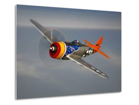 A Republic P-47D Thunderbolt in Flight-Stocktrek Images-Metal Print
