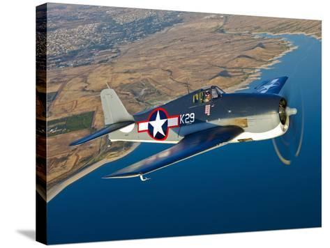 A Grumman F6F Hellcat Fighter Plane in Flight-Stocktrek Images-Stretched Canvas Print