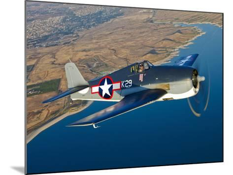 A Grumman F6F Hellcat Fighter Plane in Flight-Stocktrek Images-Mounted Photographic Print