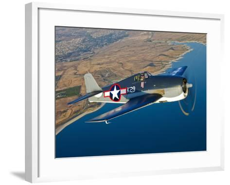 A Grumman F6F Hellcat Fighter Plane in Flight-Stocktrek Images-Framed Art Print