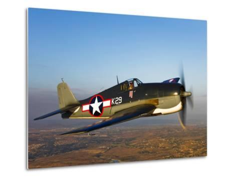 A Grumman F6F Hellcat Fighter Plane in Flight-Stocktrek Images-Metal Print