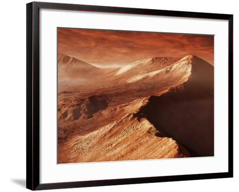 A Light Winter's Frost Forms in Mojave Crater, Trapped by the Crater's Mountainous Walls-Stocktrek Images-Framed Art Print