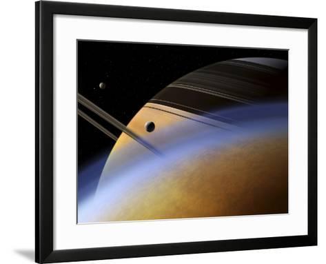 The Ringed Giant Saturn Rises Above the Haze of Titan-Stocktrek Images-Framed Art Print