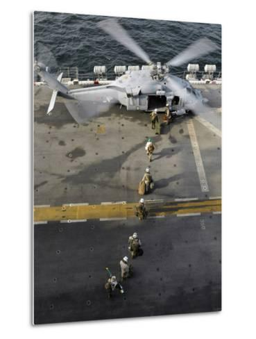 Marines Prepare to Board an MH-60S Sea Hawk Helicopter Aboard USS Peleliu-Stocktrek Images-Metal Print