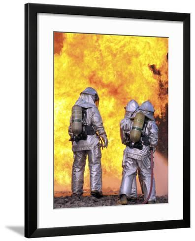 Firefighters Extinguish an Aircraft Fire During a Training Exercise-Stocktrek Images-Framed Art Print