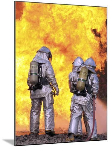 Firefighters Extinguish an Aircraft Fire During a Training Exercise-Stocktrek Images-Mounted Photographic Print