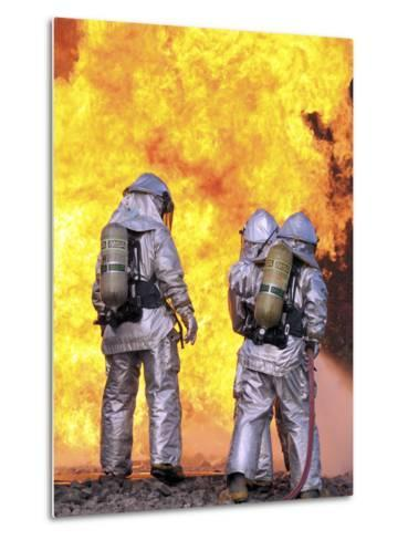 Firefighters Extinguish an Aircraft Fire During a Training Exercise-Stocktrek Images-Metal Print