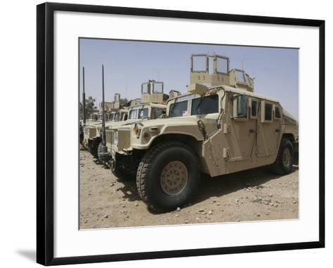 A Row of Humvees from Task Force Military Police-Stocktrek Images-Framed Art Print