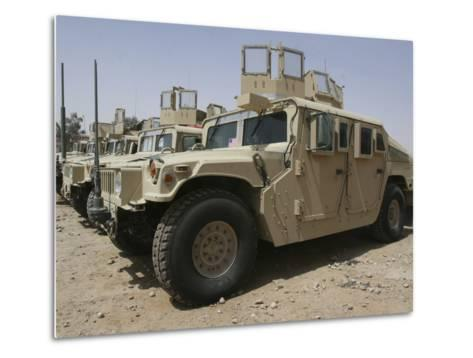 A Row of Humvees from Task Force Military Police-Stocktrek Images-Metal Print