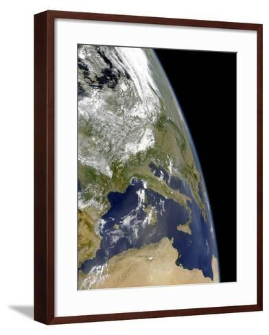 View of the Western Mediterranean with Visible Smoke in the Balkans and Dust from the Sahara Desert-Stocktrek Images-Framed Art Print