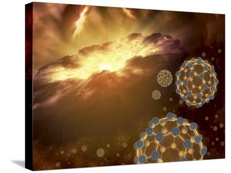 Buckyballs Floating in Interstellar Space Near a Region of Current Star-Formation-Stocktrek Images-Stretched Canvas Print