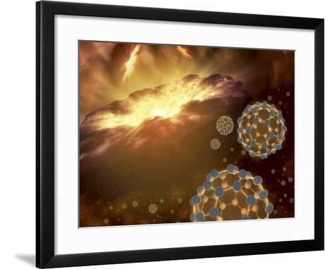 Buckyballs Floating in Interstellar Space Near a Region of Current Star-Formation-Stocktrek Images-Framed Art Print