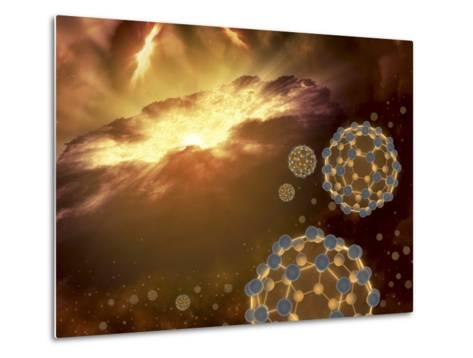 Buckyballs Floating in Interstellar Space Near a Region of Current Star-Formation-Stocktrek Images-Metal Print