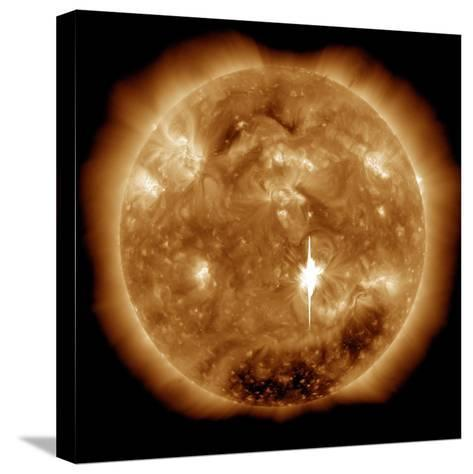 A Massive X-Class Solar Flare Erupts on the Sun-Stocktrek Images-Stretched Canvas Print