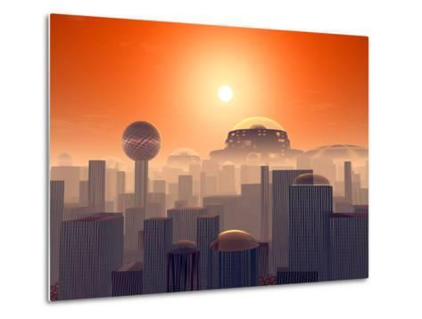 Artist's Concept of an Earth Buried by Layers of Cities Built by Generations of Our Descendants-Stocktrek Images-Metal Print