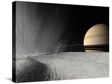 Illustration of a Geyser Erupting on the Surface of Enceladus-Stocktrek Images-Stretched Canvas Print