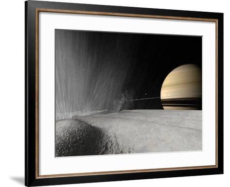 Illustration of a Geyser Erupting on the Surface of Enceladus-Stocktrek Images-Framed Art Print