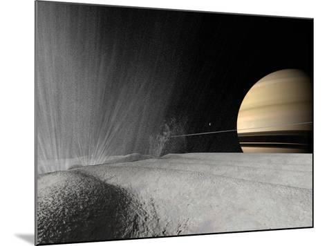 Illustration of a Geyser Erupting on the Surface of Enceladus-Stocktrek Images-Mounted Photographic Print