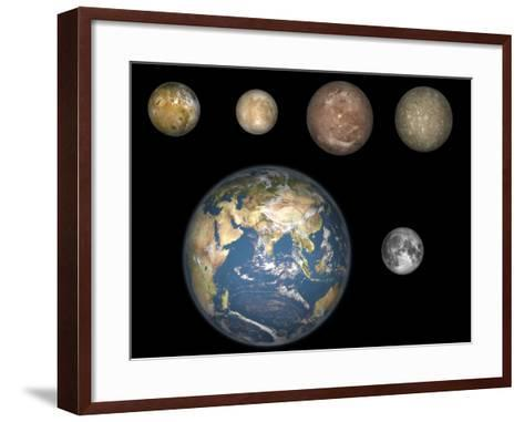 Artist's Concept of Jupiter's Four Largest Satellites Laid Out Above the Earth and it's Moon-Stocktrek Images-Framed Art Print