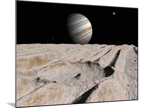 Artist's Concept of an Impact Crater on Jupiter's Moon Ganymede, with Jupiter on the Horizon-Stocktrek Images-Mounted Photographic Print
