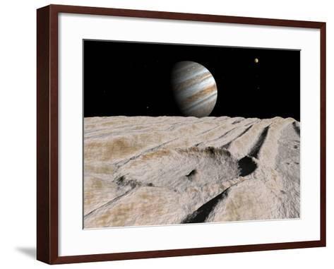 Artist's Concept of an Impact Crater on Jupiter's Moon Ganymede, with Jupiter on the Horizon-Stocktrek Images-Framed Art Print