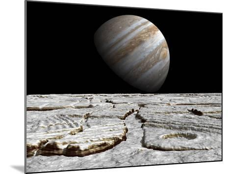 Artist's Concept of Jupiter as Seen across the Icy Surface of its Moon Europa-Stocktrek Images-Mounted Photographic Print