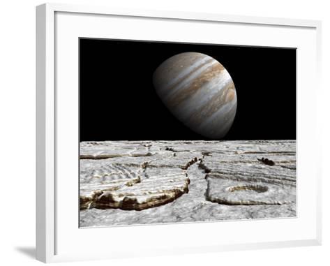 Artist's Concept of Jupiter as Seen across the Icy Surface of its Moon Europa-Stocktrek Images-Framed Art Print