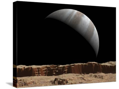 Artist's Concept of a View Towards Jupiter across the Surface of Io-Stocktrek Images-Stretched Canvas Print