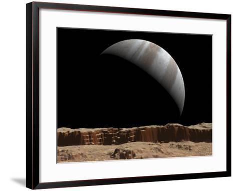 Artist's Concept of a View Towards Jupiter across the Surface of Io-Stocktrek Images-Framed Art Print
