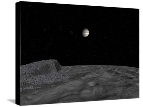 Artist's Concept of a View across the Surface of Themisto Towards Jupiter and its Moons-Stocktrek Images-Stretched Canvas Print