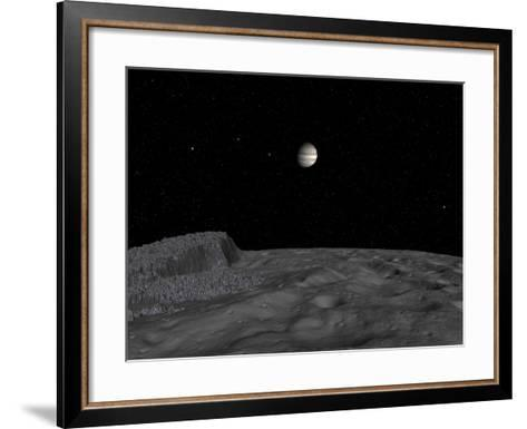 Artist's Concept of a View across the Surface of Themisto Towards Jupiter and its Moons-Stocktrek Images-Framed Art Print