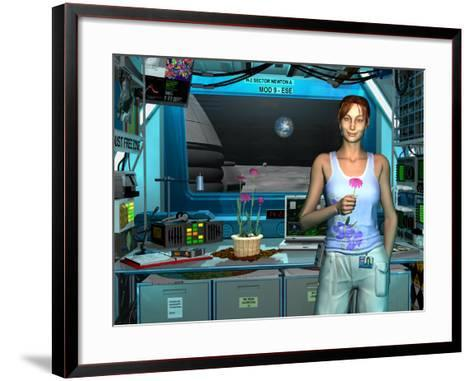A Young Radio Astronomer Stationed Near the Moon's South Pole-Stocktrek Images-Framed Art Print