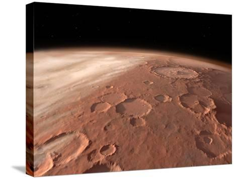 Heavily Cratered Highlands on the Surface of Mars-Stocktrek Images-Stretched Canvas Print