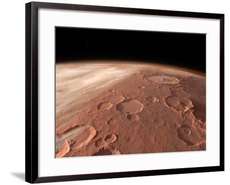Heavily Cratered Highlands on the Surface of Mars-Stocktrek Images-Framed Art Print