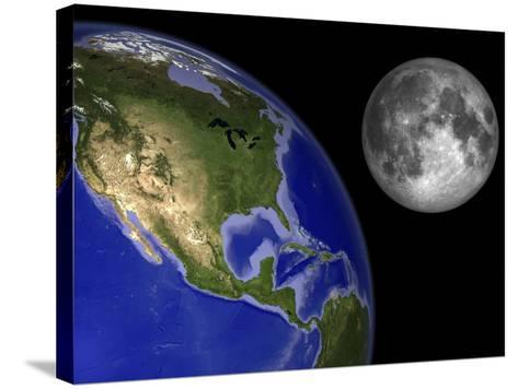 Artist's Concept of the Earth and its Moon-Stocktrek Images-Stretched Canvas Print