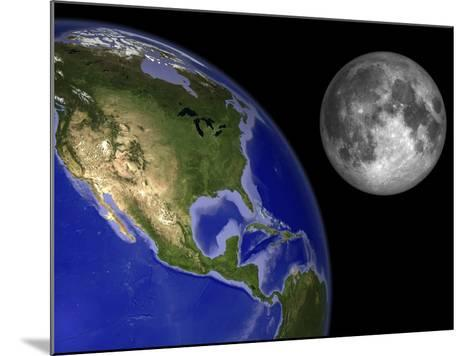 Artist's Concept of the Earth and its Moon-Stocktrek Images-Mounted Photographic Print