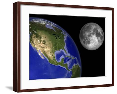 Artist's Concept of the Earth and its Moon-Stocktrek Images-Framed Art Print
