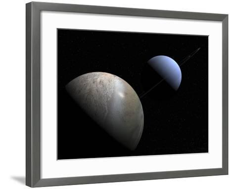 Illustration of the Gas Giant Planet Neptune and its Largest Moon Triton-Stocktrek Images-Framed Art Print