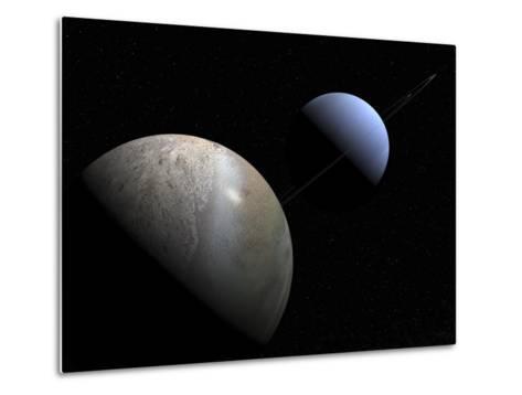 Illustration of the Gas Giant Planet Neptune and its Largest Moon Triton-Stocktrek Images-Metal Print