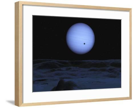 Artist' Concept of Neptune as Seen from its Largest Moon Triton-Stocktrek Images-Framed Art Print
