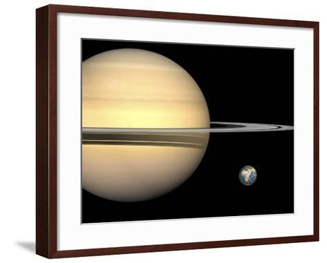 Illustration of Saturn and Earth to Scale-Stocktrek Images-Framed Art Print