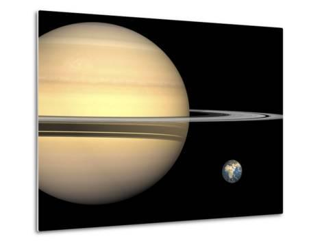 Illustration of Saturn and Earth to Scale-Stocktrek Images-Metal Print