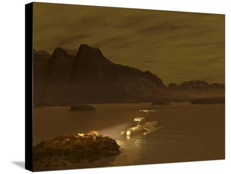 Artist's Concept of a Robotic Probe Exploring a Frigid Ethane Lake on Titan-Stocktrek Images-Stretched Canvas Print