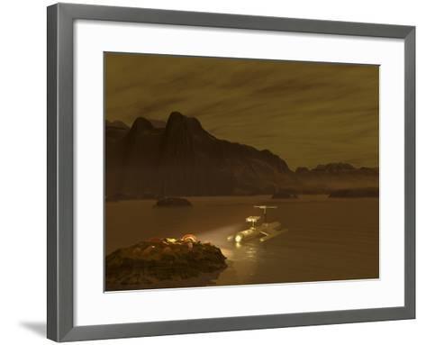 Artist's Concept of a Robotic Probe Exploring a Frigid Ethane Lake on Titan-Stocktrek Images-Framed Art Print