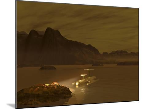 Artist's Concept of a Robotic Probe Exploring a Frigid Ethane Lake on Titan-Stocktrek Images-Mounted Photographic Print