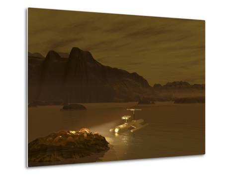 Artist's Concept of a Robotic Probe Exploring a Frigid Ethane Lake on Titan-Stocktrek Images-Metal Print